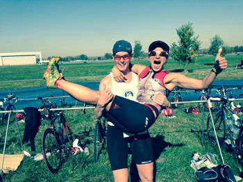 Kathy Bradley and Lisa Balerna after the Fall Colurs Duathlon where they placed 1-2