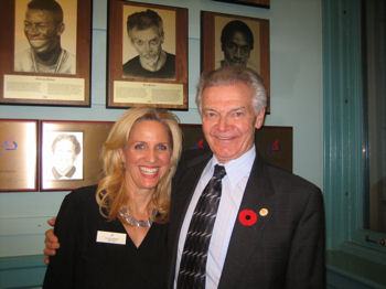 Ken Parker (R - HOF Inductee 2005) and Lynne Bermel (L- HOF Board of Directors) at the opening of the Ottawa Sports Hall of Fame on November 7th