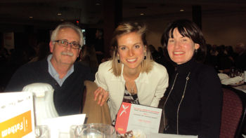 Leah Larocque, Ottawa's Road Racer of the Year at the Ottawa Sports Awards dinner with her parents. Photo: Lisa Balerna