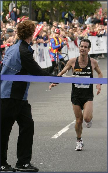Bruce winning the 2004 Royal Victoria Marathon - Race Photo