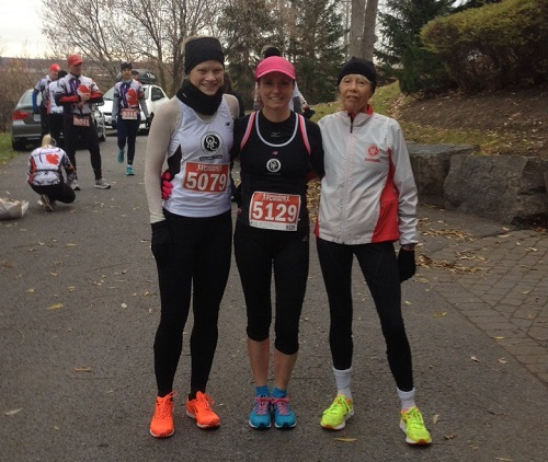 Gro Jordalen, Lisa Steele and Paula Hickman post race at the Telus Mission Possible 5K