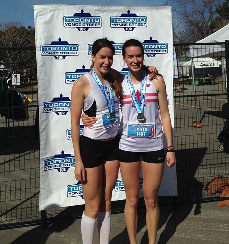 Nadine and Lydia Frost at the Toronto Yonge Street 10K