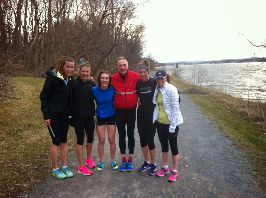 Members of the OAC Racing Team post-workout on the Rockcliffe Parkway path. It was cold and extremely windy!