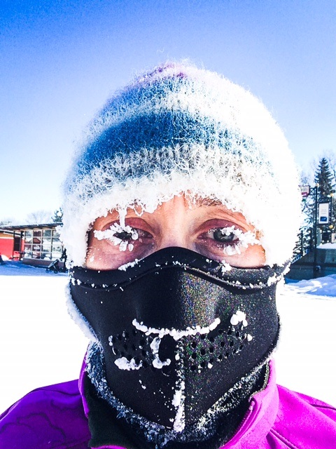 Jane Rutherford - A selfie taken during her long run on Sunday in -39 windchill!