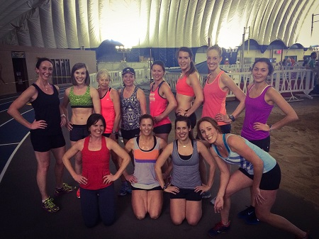 The OACRT women celebrated International Women's Day with a hard track workout in the Dome