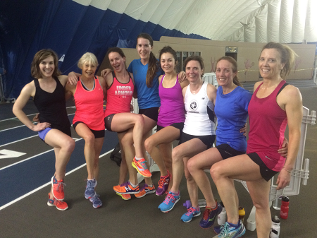 The OACRT women post-workout Tuesday night at the Dome