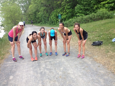 Members of the OAC Racing Team after doing 3 sets of 400,800,400 on the Rockcliffe Parkway path