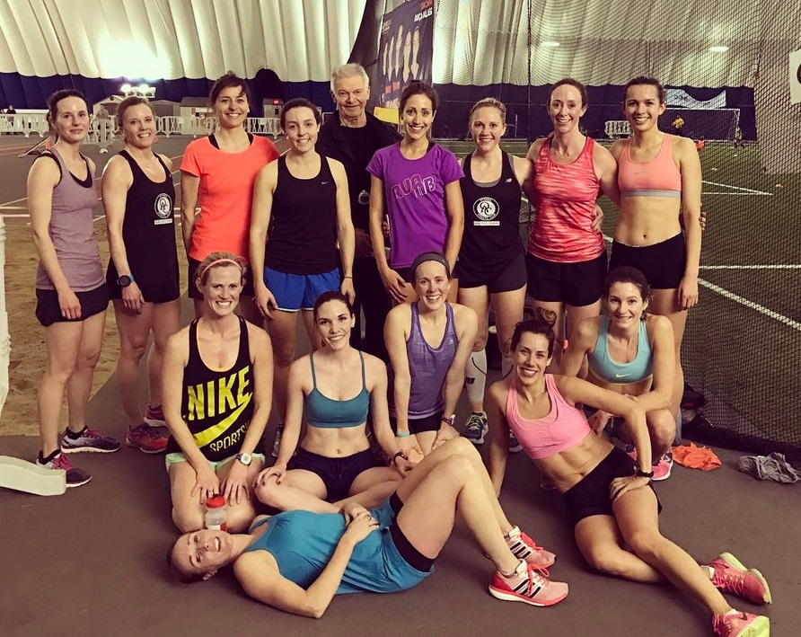 Members of the OAC Racing Team after their track workout at the Dome Tuesday night.