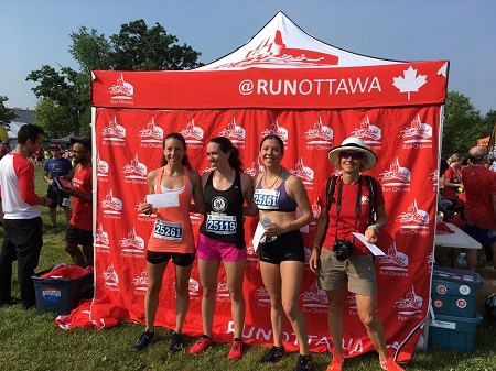 Canada Day 10K in Kanata, L to R: Alex Hynes 1st, Erin O'Higgins 3rd. Erin Rivers 4th, Judy Andre-Piel from Bustukah. Not shown - Jill Maurray 7th