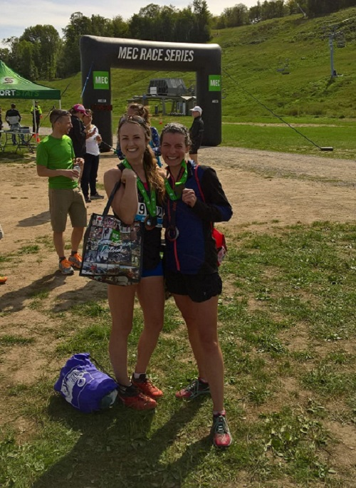 Lauren Prufer and Elian Bogers placed 1-2 in Sunday's MEC TRail Race 13K at Calabogie Peak, ON.