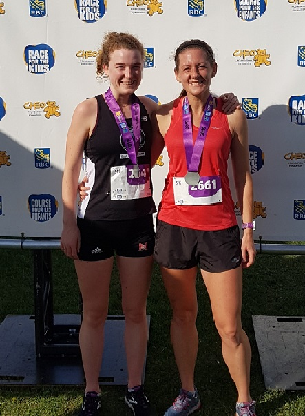 Charlotte Van Walraven  (L) and Richelle Weeks (R) PLaced 1-2 in Sunday's RBC Run for the Kids 5K