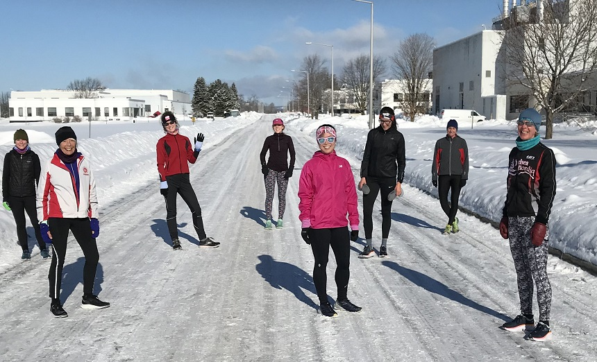 Post workout on the NRC campus Saturday morning - 5 X 720M, with 1:30 to 2:00 recovery .
